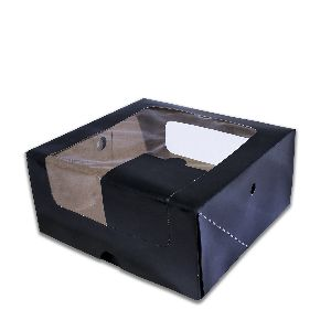 Rectangular Cardboard Black Cake Box W/ Window