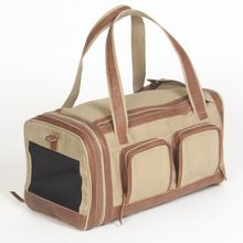 Canvas Pet Carrier With Leather Trim