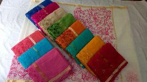 Kota Doria Cotton With Aari Work Sarees