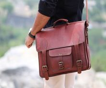 Real Goat Leather Office Use Unisex Briefcase