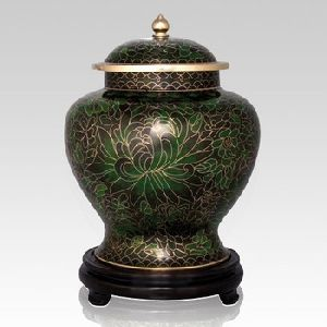 Green Cloisonne Cremation Urn