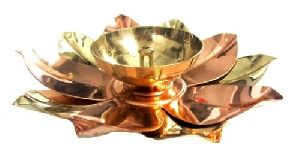 Brass And Copper Lotus Diya