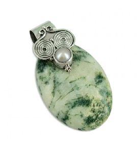 Beauty !! Tree Moss Agate, Pearl Gemstone Silver Jewelry Pendant