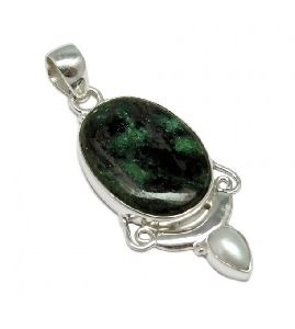 Fashion !! God Blessing Rubyzosite Pearl Gemstone 925 Silver Pendant Jewelry