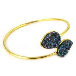 Pear Shape Titanium Druzy Bracelet