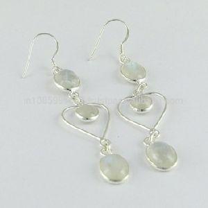Rainbow Moon Stone Gemstone Dangle Silver Earring