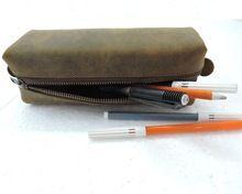 Buff Leather Square Pencil Case