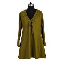 Plain Long Sleeve Silk Kaftan Tunics