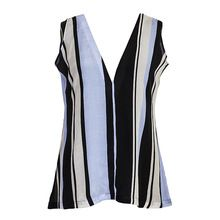 Striped Logo Print Silk Women Tops