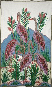 """Chainstitch Tapestry Woolen Rug """"birds"""", Multicolor Embroidery 3x5 Feet"""