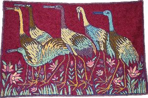 Chainstitch Tapestry Woolen Rug Birds, Multicolor Embroidery 2x3 Fe