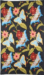 """Chainstitch Tapestry Woolen Rug """"butterflies"""", Multicolor Embroidery 3x5 Feet"""