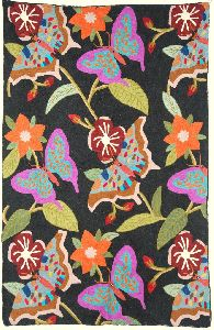 """Chainstitch Tapestry Woolen Rug """"butterflies"""", Multicolor Embroidery 2.5x4 Feet"""