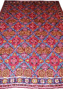 Chainstitch Tapestry Woolen Rug Kilim, Multicolor Embroidery 9x12 Feet