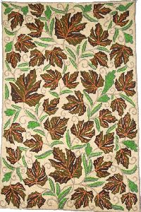 """Chainstitch Tapestry Woolen Rug """"maple"""", Multicolor Embroidery 2x3 Feet"""