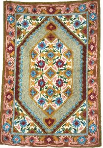Chainstitch Tapestry Woolen Rug, Multicolor Embroidery 2x3 Feet