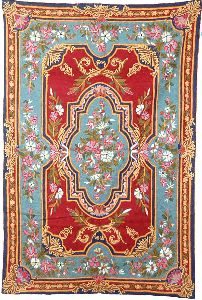 Chainstitch Tapestry Woolen Rug, Multicolor Embroidery 6x4 Feet