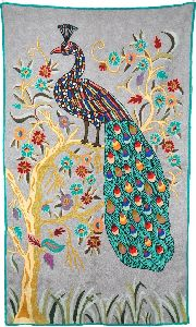 """Chainstitch Tapestry Woolen Rug """"peacock"""", Multicolor Embroidery 3x5 Feet"""