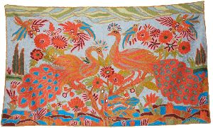 """Chainstitch Tapestry Woolen Rug """"peacocks"""", Multicolor Embroidery 3x5 Feet"""