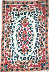 Chainstitch Tapestry Woolen Rug, Pink And Blue Embroidery 2x3 Feet