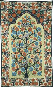 """Chainstitch Tapestry Woolen Rug """"tree Of Life Birds"""", Multicolor Embroidery 3x5 Feet"""