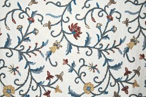 Cotton Crewel Embroidered Fabric Jacobean, Multicolor