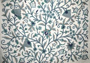 "Cotton Crewel Embroidered Fabric ""Tree of Life"", Grey and Blue"