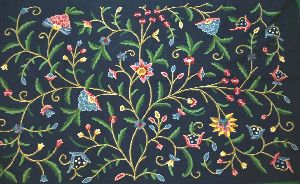 "Cotton Crewel Embroidered Fabric ""Tree of Life"" Navy Blue, Multicolor"
