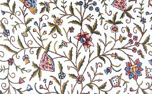 "Cotton Crewel Embroidered Fabric ""Tree of Life"", Multicolor"
