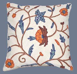 Cotton Crewel Pillow Cushion Cover, Multicolor