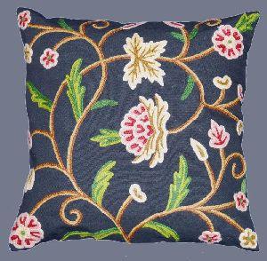 Cotton Crewel Pillow Cushion Cover Navy Blue, Multicolor
