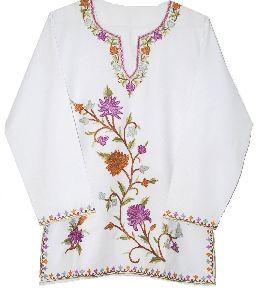 Cotton Embroidered Kurta Tunic White, Multicolor Embroidery