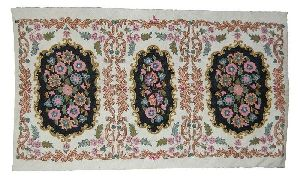 Cross Stitch Woolen Rug, Multicolor Embroidery 3x5 Feet