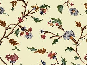 Embroidered Fabric Cream, Multicolor