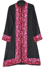 Embroidered Woolen Coat Black, Pink Embroidery