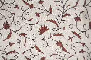 Jute Crewel Embroidered Fabric Jacobean, Brown On Beige