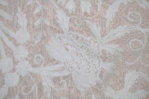 """Jute Crewel Embroidered Fabric """"tree Of Life"""", White On Beige"""
