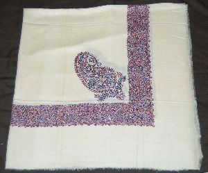 Kashmir Pashmina Cashmere Embroidered Shawl Arab Scarf, Blue On White