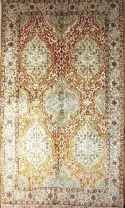 Kashmir Silk Carpet Hand Knotted, Green And Gold