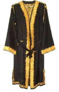 Kashmir Wool Dressing Gown Black, Yellow Embroidery