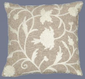 Linen Crewel Pillow Cushion Cover, White On Natural Linen