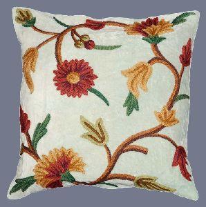 Velvet Crewel Pillow Cushion Cover Light Green, Multicolor