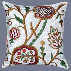 Velvet Crewel Pillow Cushion Cover White, Multicolor