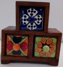 Wooden Ceramic Spices Box