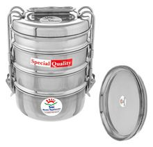 Steel Tiffin Box 4 Compartment With Plate