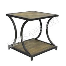 Metal Wood Square Coffee Table