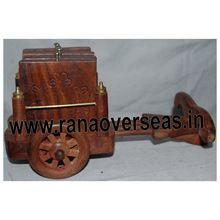 Carving Brass Bullock Cart Tea Coaster