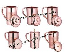 Copper Jug Water Pitcher Handmade With Lid