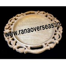 New Look Wooden Carved Round Shape Tray