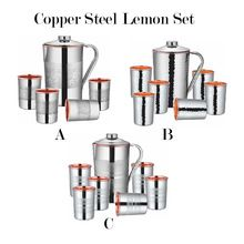 Stainless Steel Copper Jugs With Glass Tumbler Set